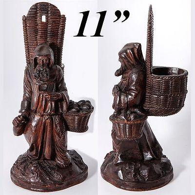 RARE Antique Hand Carved Black Forest Pocket Spill Vase, Cigar Stand, Match Hold