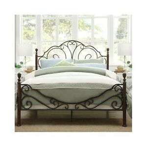 Image Is Loading Queen Bed Antique Victorian Iron Vintage Rustic Metal