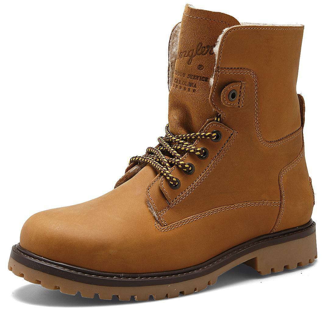 Wrangler Aviator Mens Leather Hi Lace Up Boots Camel