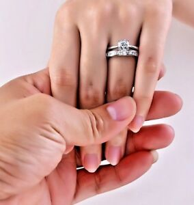 925-Sterling-Silver-Asscher-Solitaire-with-Princess-Half-Eternity-Band-Ring-Set