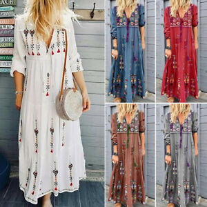 Details about Womens Plus Size V Neck Lace Up Long Sleeve Boho Dress Party  Casual Maxi Dress