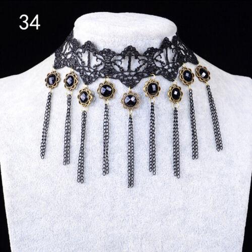 Femmes gothique cou Burlesque dentelle victorienne Collier ras du cou9hk