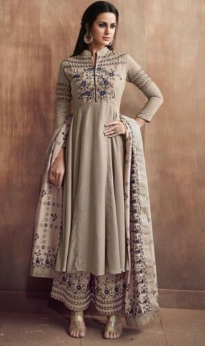 Stitched Readymade Muslin Kameez Plazzo Dupatta Indian Women Suit Size L XL XXL