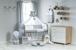 Babybett Natur Holz mit 10tlg Kompletset Bettwäsche Matratze Teddybär//Mond braun