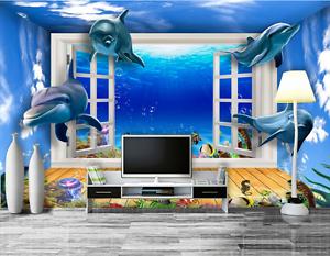 3D bluee Dolphin Ocean 5785 Wall Paper Wall Print Decal Wall AJ WALLPAPER CA