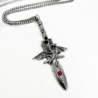 Pewter Dragon & Castle Sword Pendant Necklace w/ 55cm Stainless Steel Chain