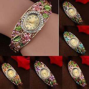 New-Fashion-Women-Bangle-Crystal-Color-Flower-Bracelet-Quartz-Watch-Wristwatch