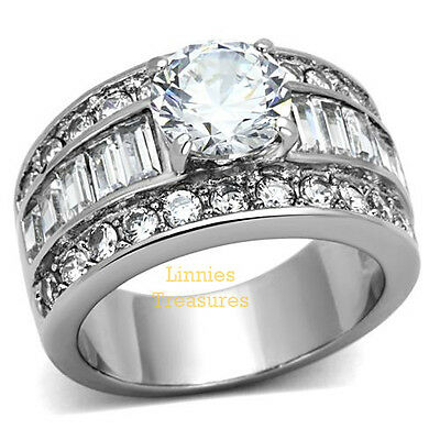 Engagement Stainless Steel Round CZ Solitaire Ring Baguette & Round Accents