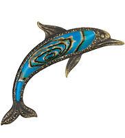 Bronze Dolphin Hanging Wall Art Decor Blue Glass Metal , 24h