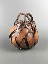 Antique Japanese Woven Bamboo Handmade Ikebana Basket from Estate