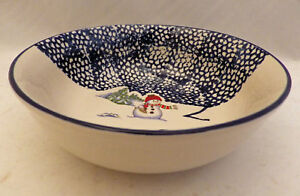 Thomson-Pottery-Snowman-pattern-set-lot-of-4-Snowman-Cereal-soup-bowls-New