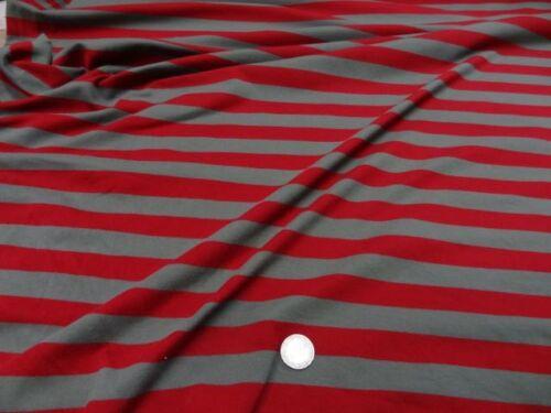 tissu jersey coton lycra à rayures taupes et rouges