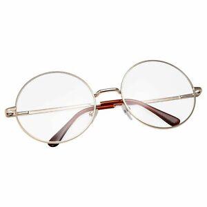 John-Lennon-Round-Retro-OVERSIZE-GOLD-Clear-Lens-Eye-Glasses-Fashion-Hippies-80s