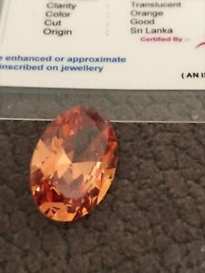 7.20 Ct  Oval Shape Sri Lanka Orange  Sapphire Loose Gemstone