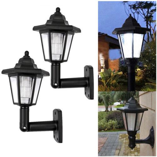 Retro Hexagonal Solar LED Wall Lamp Waterproof Outdoor Garden Fence Light New