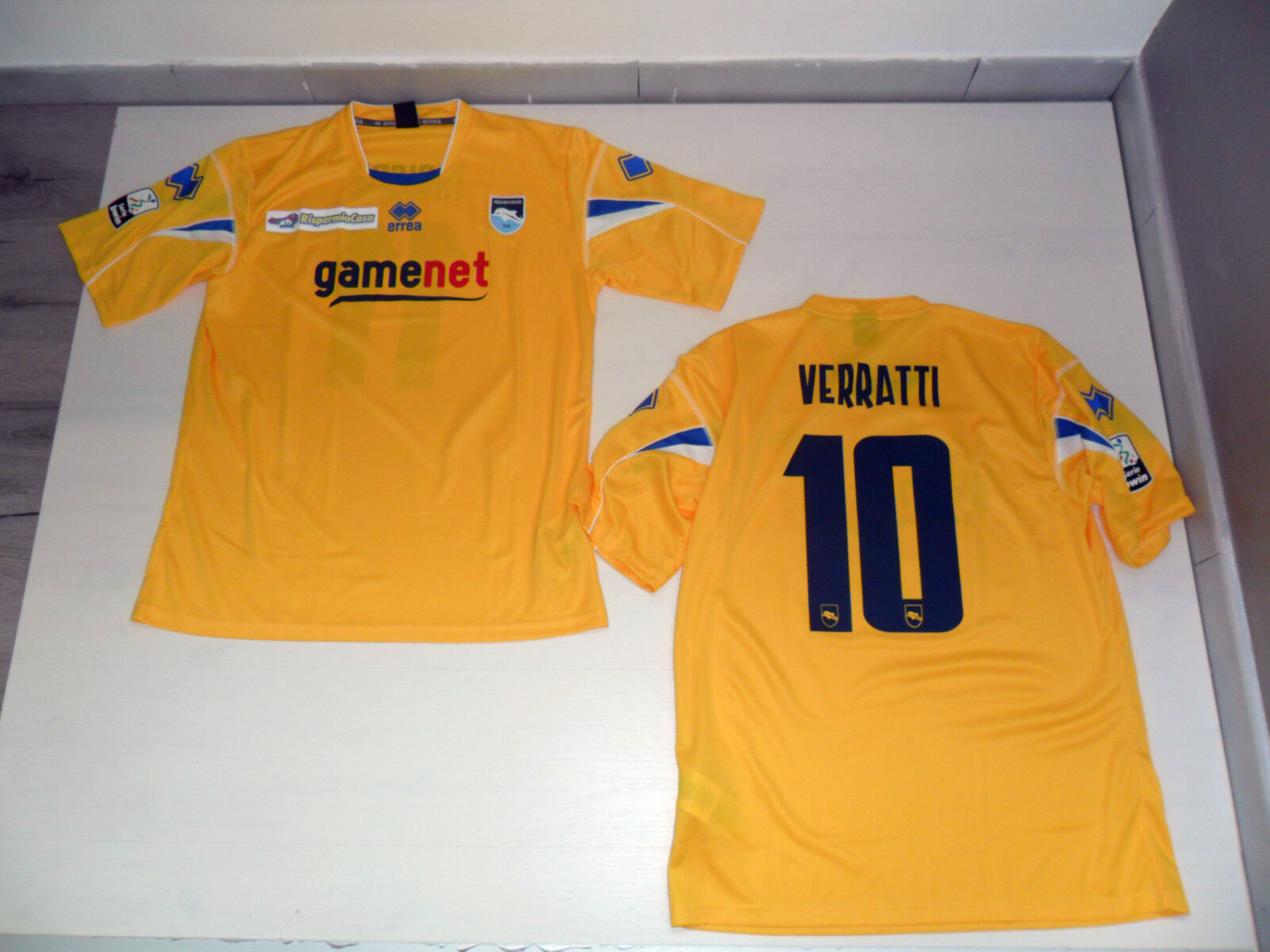 T. XL 10 VERRATTI PESCARA CAMISETA CARRERA 11 12 THIRD JERSEY SHIRT AMARILLO