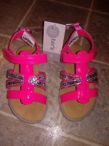 d4a92af6a NWT Carter s Hot Pink Silver Glitter Girls Shoes Sandals Toddler ...