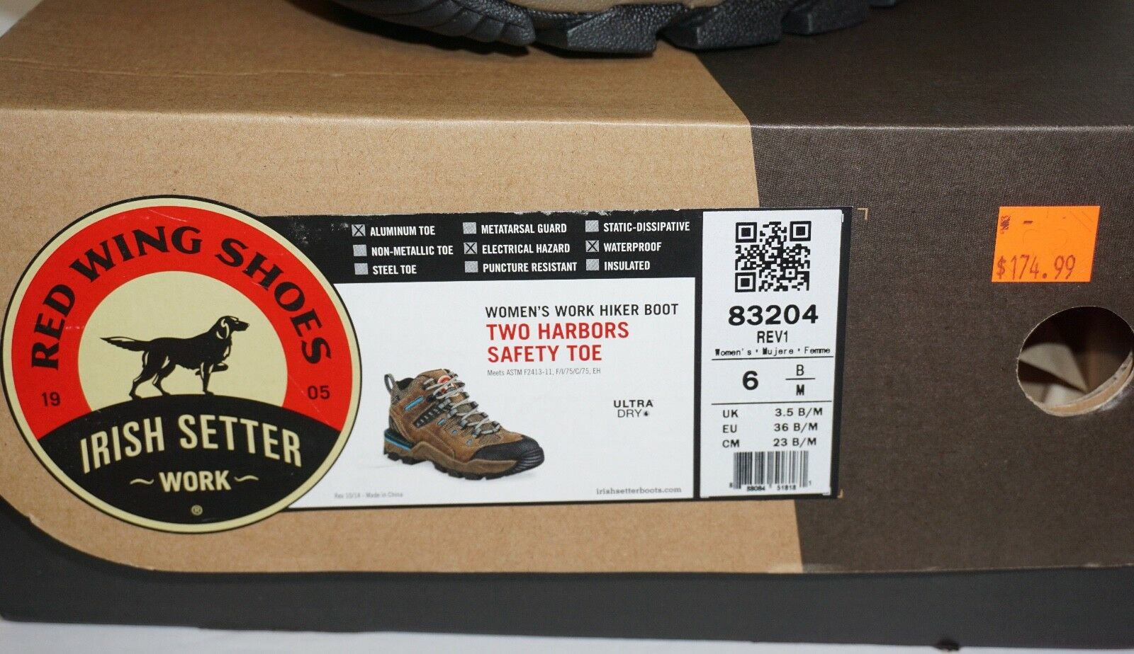NIB ROT Wing Hiker Irish Setter Work Schuhes Hiker Wing Boot Two Harbors Safety Toe Größe 6 M 6fdb1a