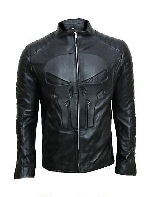 Punisher Thomas Jane Frank Castle Skull Embossed Black Biker Real Leather Jacket