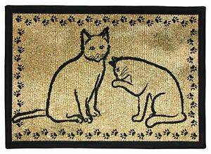 Kitty Cat Paw Border Tapestry Feeding Mat Rug 13x19 Pb