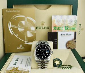ROLEX 36mm White Gold & Stainless Steel Datejust Black Index 126234 SANT BLANC