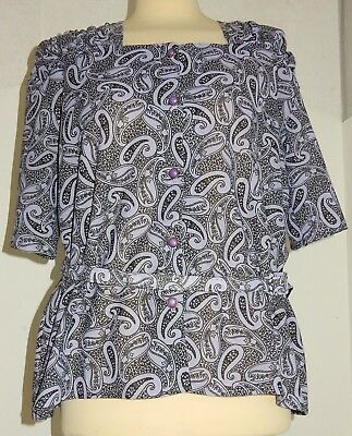 Bluse Paisley Muster Blau Polyester 60iger Jahre Original Vintage Made In Uk