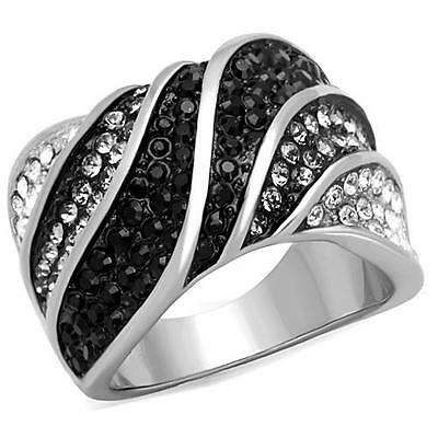 Statement Wave Ring Black Silver and Clear Crystal Stainless Steel