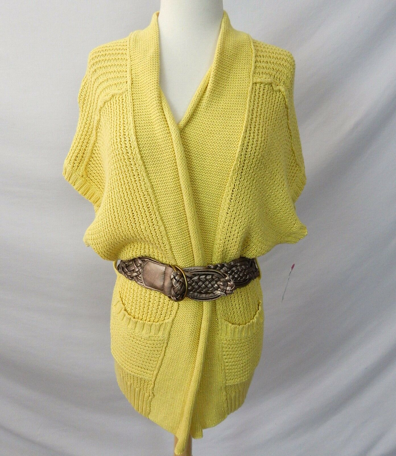 ETCETERA YELLOW gold HEAVY KNIT BELTED CARDIGAN SWEATER w BELT size S NEW