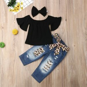USA Toddler Kids Baby Girls Leopard Tops Pants Trousers Outfits Tracksuit Summer