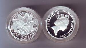 1990 SILVER Proof $1 Australia Kangaroo Coin ex Masterpieces
