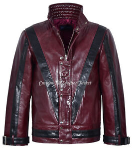 Men S Cherry Red Michael Jackson Style Music Real Glaze Leather