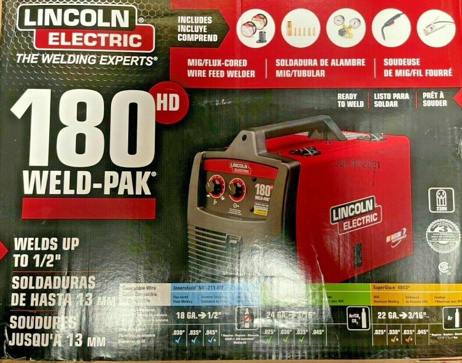 K2515-1 laurelonlinedeals Lincoln Electric 180 HD WELD pak MIG Pro 180HD WIRE FEED WELDER K2515-1 NEW