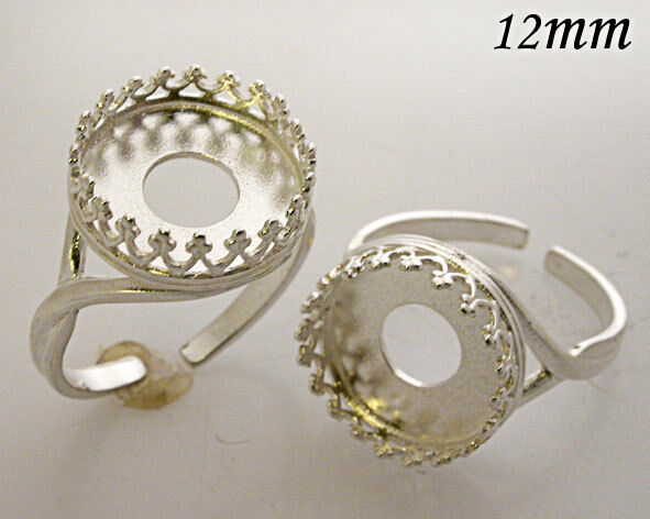 4pcs x Round 12mm Heavy Bezel Cups For Setting Shiny Silver Plated (8480SP)
