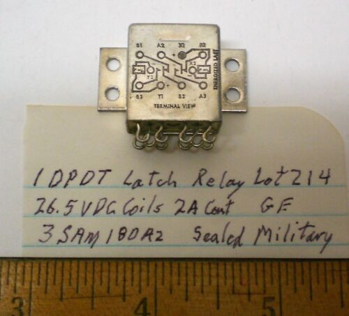GE#3SAM18  LOT 214 1 New  Sealed Latch Relay DPDT 2Amp Contacts 26VDC Coil USA