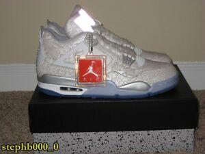 43447dc33e054c Nike Air Jordan IV 4 Retro Laser White Chrome Metallic Silver Size ...