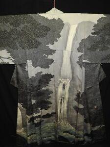 Unused-amp-LUXURY-Silver-Gray-Silk-Japanese-KIMONO-w-Waterfall-Rakkan-B951
