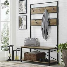 "72"" Industrial Metal and Wood Hall Tree Barnwood Hallway Storage Bench Seat"