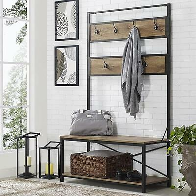 Strange 72 Industrial Metal And Wood Hall Tree Barnwood Hallway Storage Bench Seat 842158104571 Ebay Gmtry Best Dining Table And Chair Ideas Images Gmtryco