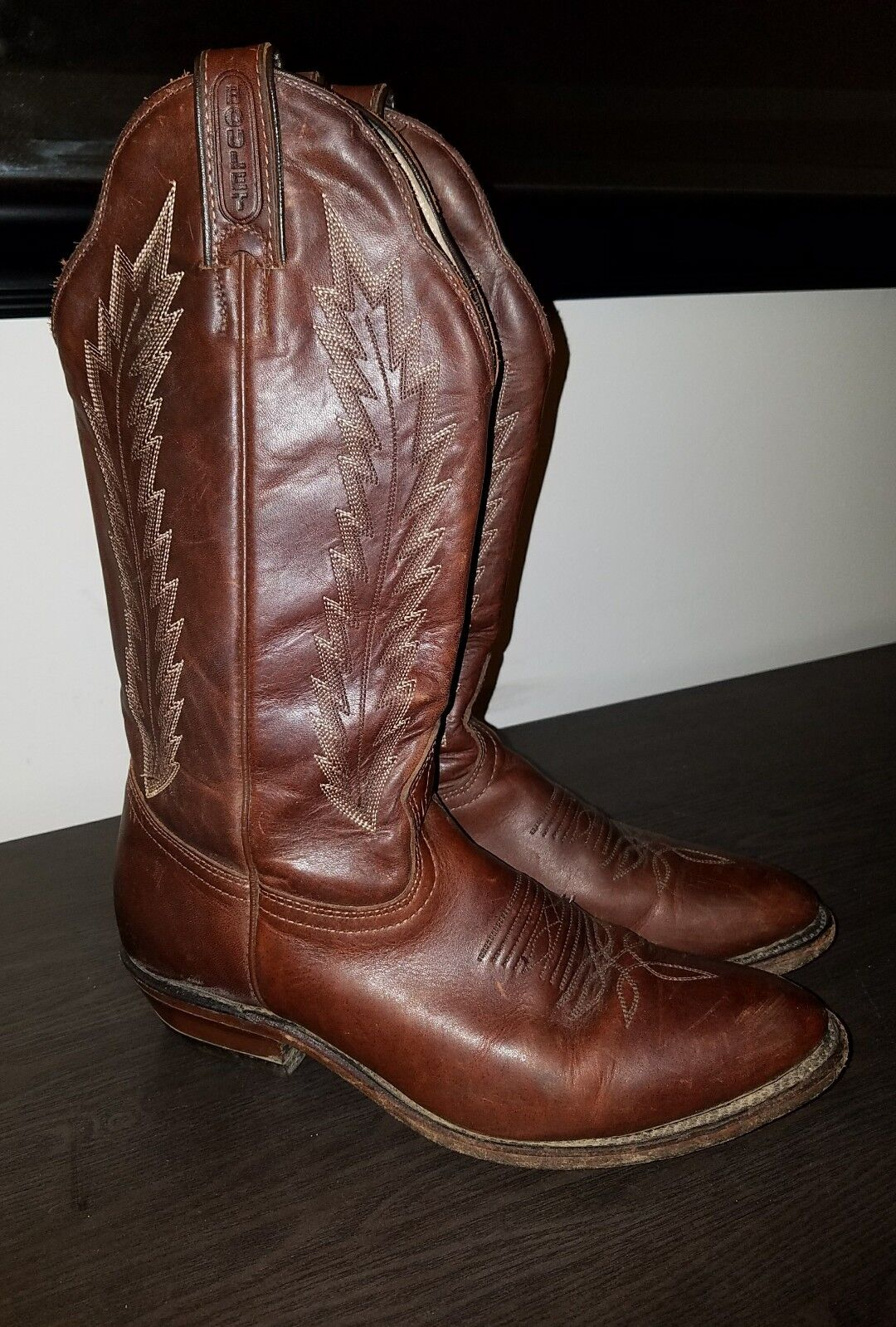Uomo BOULET brown leather oiled cowboy western boots. Sz 8 B