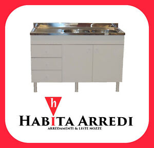 Mobile con Lavello Cucina Bianco 2 Ante + 3 Cassetti Vasche DX o SX ...