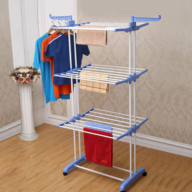 3 Tier Folding Laundry Clothes Storage Portable Drying Rack Dryer Hanger Stand
