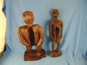 2 Afrikanische Sculptures Figurinen Handgeschnitzt Holz Kunst Sasquatch Yeti