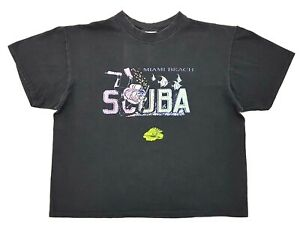 Vintage-Miami-Beach-Scuba-Tee-Black-Distressed-Size-XL-Single-Stitch-T-Shirt-Top