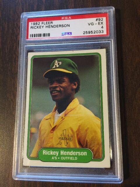 1982 Fleer Rickey Henderson Oakland Athletics #92 Baseball Card PSA 4