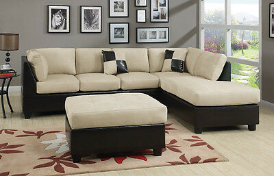 Mushroom Sectional Couch Sofa Sectionals Microfiber Complete Set Chaise Leather