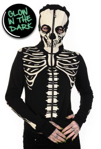 Rock cappuccio Souls con Felpa Living Dark Punk Goth Zip Up Glow Banned Dead In Skeleton waCqxXH6