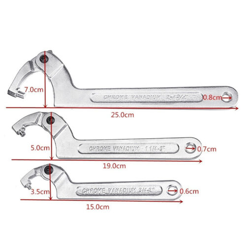 19-51//32-76//51-120mm Adjustable Hook Wrench C Spanner Tool Motorcycle Suspension
