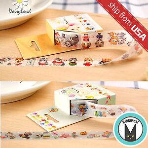 Lot 2pcs Cat Macaron Paper Masking Washi Tape Sticker DIY Diary Cute