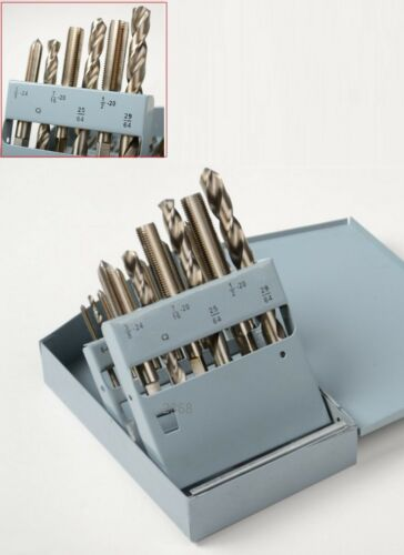 18 Pc HSS Drill Bit And Tap UNC//UNF Set Drilling Power High Speed Steel Tools