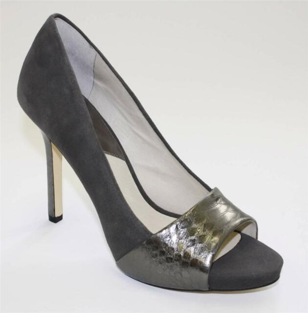 Women's Shoes Michael Kors LEIGHTON PEEP Stiletto Open Toe Pumps Suede Graphite
